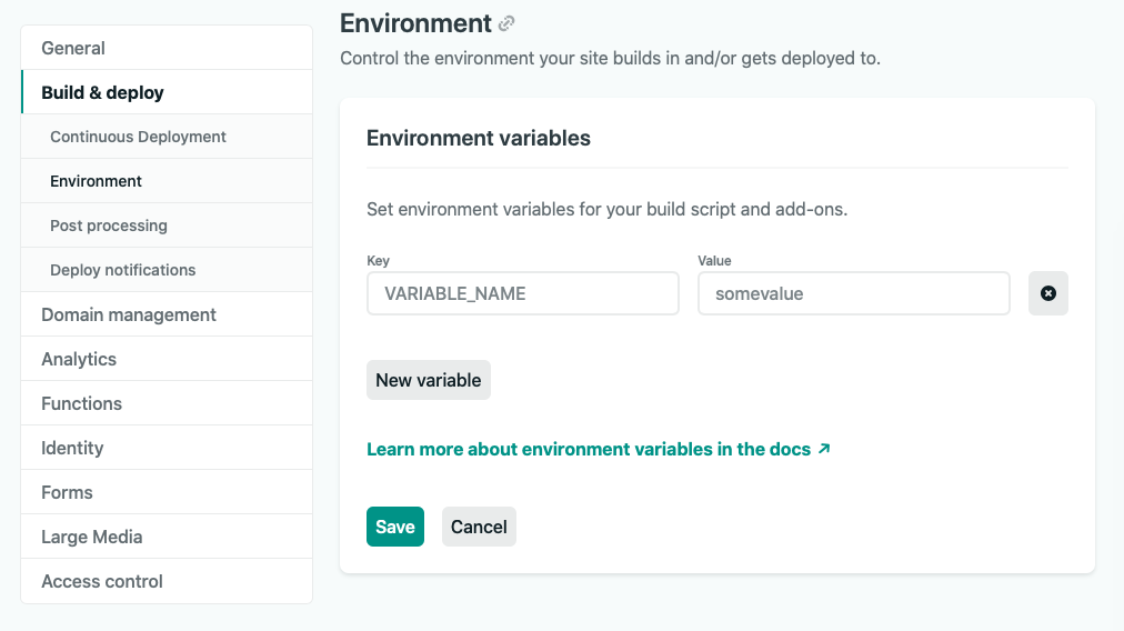 Netlify env vars screen